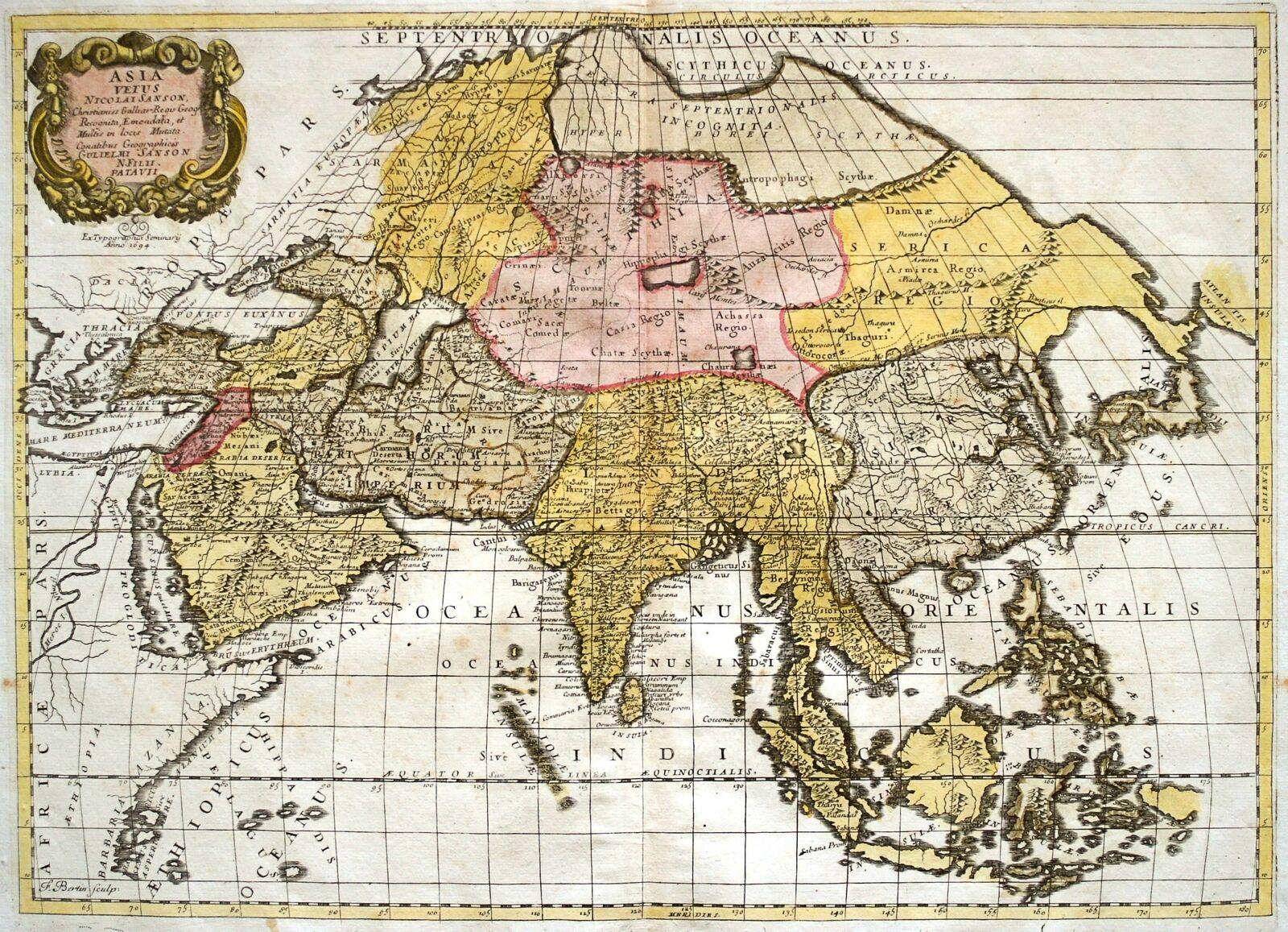 Landkarte Asien.Details Zu Asien Landkarte Des Kontinents Von Sanson 1694 Dekoratives Original
