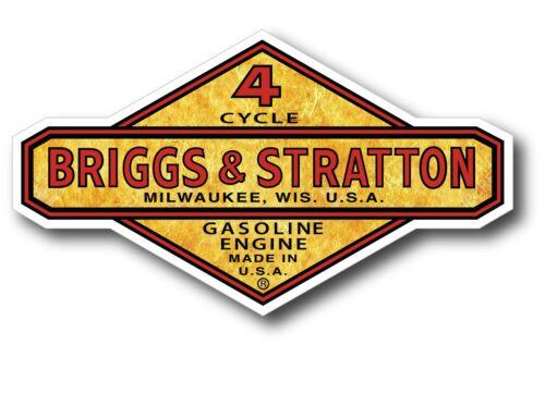 "Gold Foil Look Vintage Briggs & Stratton Gasoline Oil Gas 5"" X 3"" sticker decal"