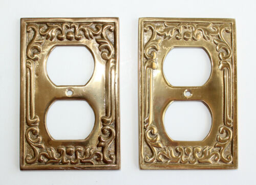 Pair Vintage Reproduction Victorian Brass Decorative Scroll Outlet Plate Covers