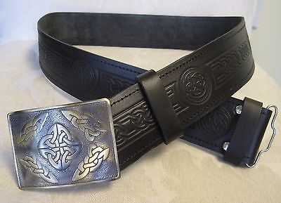 Celtic Embossed Black Leather Belt & Buckle Scottish Men'...