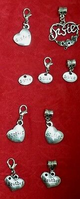 Antique Silver Charm   Brother   Sister   Heart   Love   Family U Choose