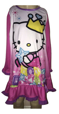 Hello Kitty Nightgown - Hello Kitty Sanrio Girls Pink And White Nightgown Pajama Size 4