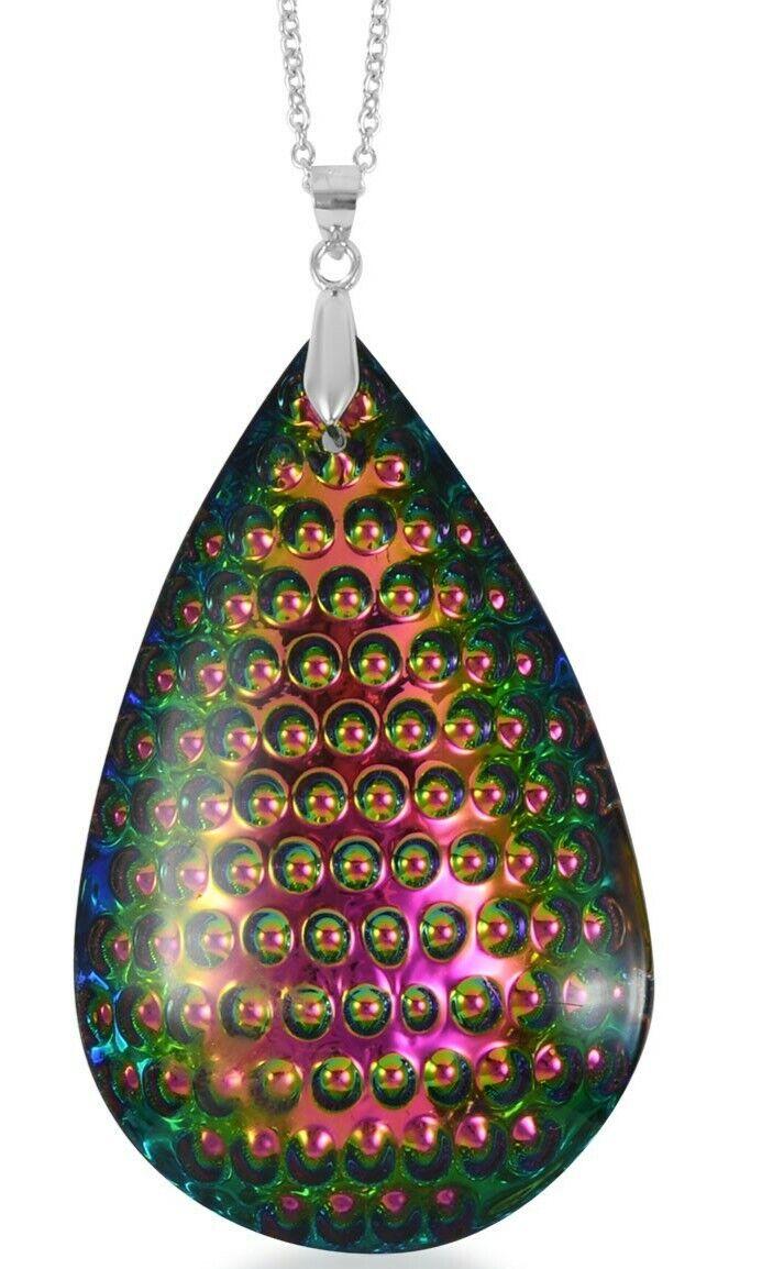 Peacock Color Simulate Quartz Teardrop Large Pendant Necklace 18 Sterling  - $11.99