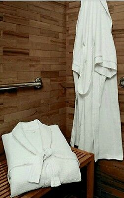 New FIVE STAR Worldmark Wyndham Luxury White Waffle Kimono Shawl Robe》Satin Trim