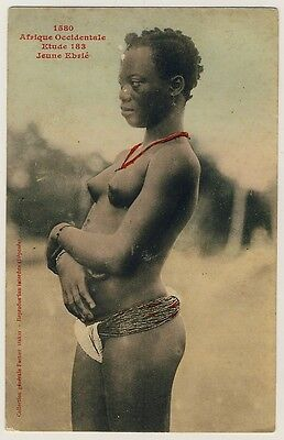 IVORY COAST EBRIE GIRL IN LOINCLOTH VINTAGE 1910S ETHNIC NUDE PC FORTIER 1580