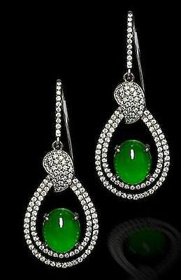 (5 ct Green Oval Dangle Earrings 925 Sterling Silver Pearl Style Halo Jewelry )