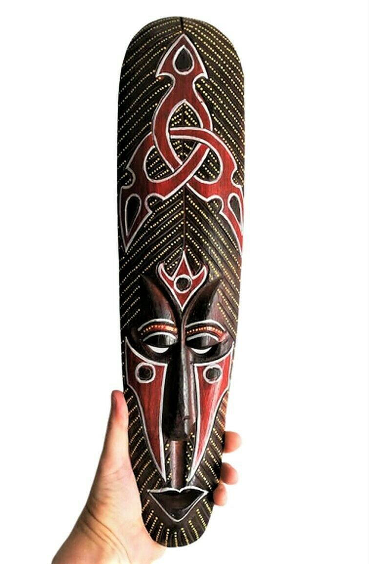 Details About Bali Wall Mask Long Abstract Tattoo Symbol Tribal Ethnic Face African Wood 50 Cm