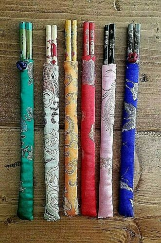Set of 6 Chopsticks with Traditional Individual Cloth Sleeve Case Asian Reusable