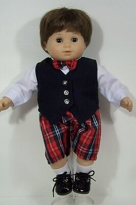 Plaid Boy Suit Shirt Bow-Tie Vest Shorts Doll Clothes For 15