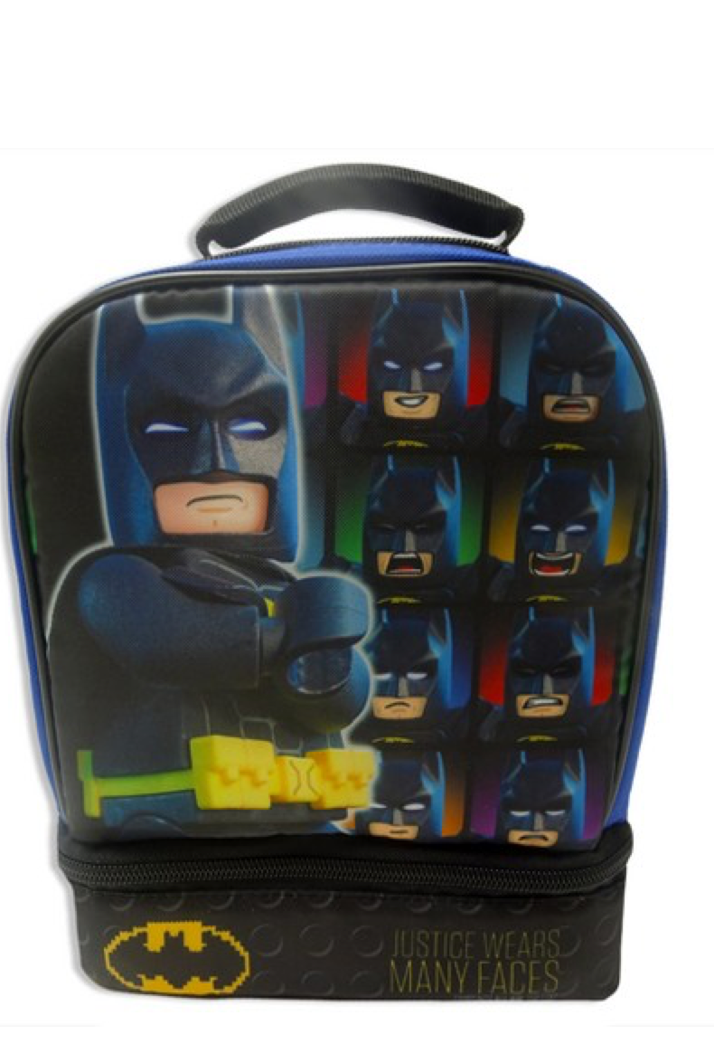 Batman Lego Duel Compartment Lunch Box With Detachable  Cape