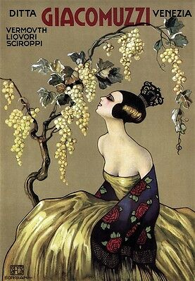 Giacomuzzi Vermouth - Italy, Italian beautiful vintage old repro drink poster