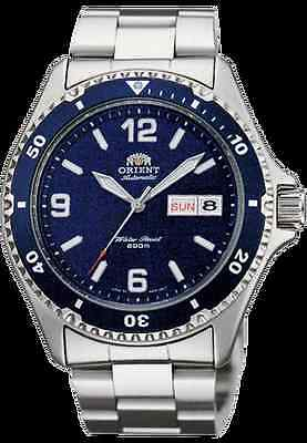 NEW   Orient  Silver Men's Diver Watch Automatic Mako II  blue Dial AA02002D