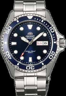 NEW Orient Silver Automatic Men's Diver Watch  Ray ll blue   BOX AA02005D