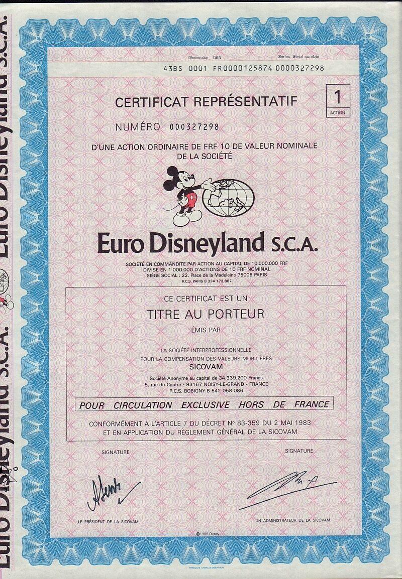 Entertainment sports stocks bonds scripophily men euro disneyland france dd 1983 mickey mouse vignette disney 1betcityfo Choice Image