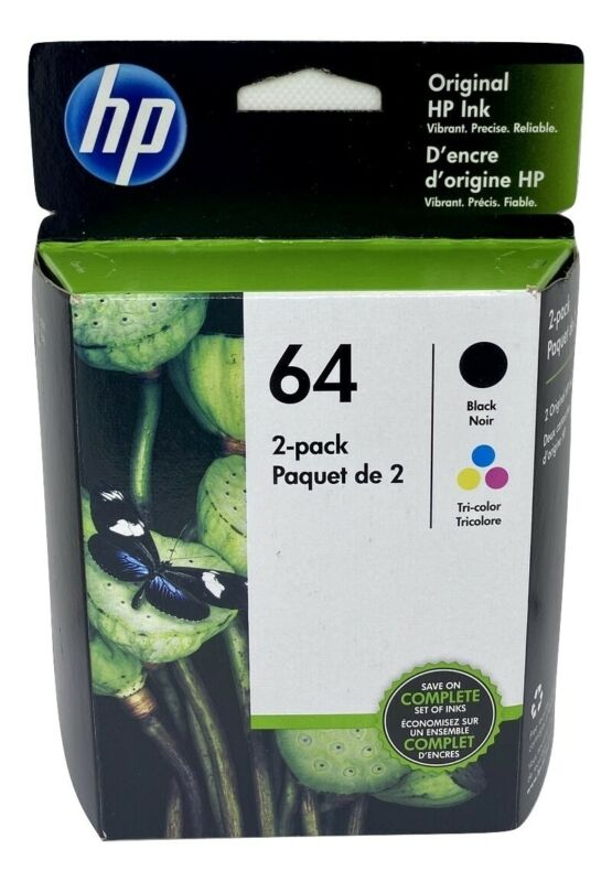 HP 64 Ink Cartridge Combo Black & Color NEW Genuine