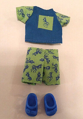 Tommy Doll Friend of Barbie's Sister Kelly Clothes Shirt Shorts Shoes Ant Print