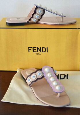 FENDI NUDE CAMELIA PEARL APPLIQUE THONG SLID ON SANDAL SIZE 38