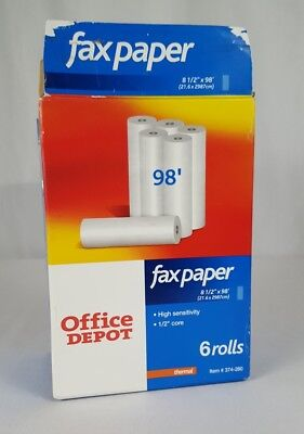 Office Depot Fax Paper 4 Rolls Thermal High Sensitivity 8.5 X 98roll 12