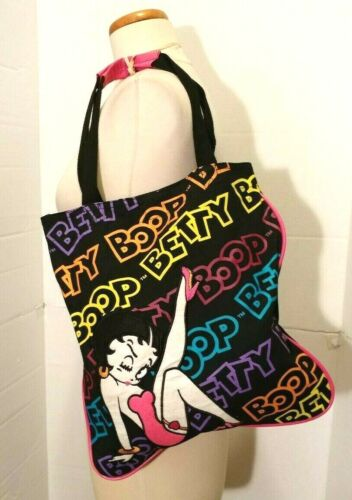 Betty Boop Colorful Fabric Tote Bag - Trademark Betty Graphic with Script