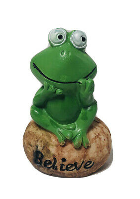 """Green Frog On Rock Charming Rustic Believe Inspirational Decor Happy 3"""" New!"""