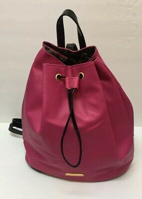 Juicy Couture Hot Pink Black Vegan Leather Drawstring Backpack Bag Purse Hot Pink Drawstring Purse