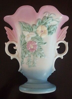 "HULL ART USA W-9, 8 1/2"" VASE – Embossed with Wild Flowers and Leaves Pink"