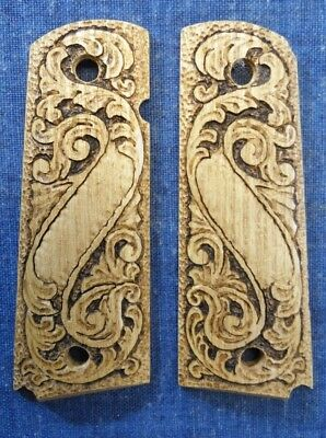 1911 FULL SIZE WOOD CARVED SCROLL NAME PLATE  GRIPS *FAST USA SHIPPER