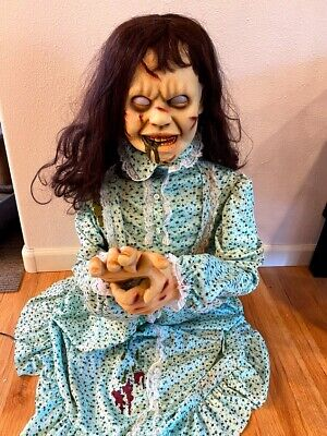 Halloween prop ANIMATED REGAN from THE EXORCIST, HEAD SPINS, AS IS.
