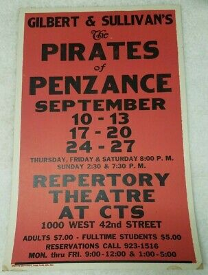 "Vintage Pirates of Penzance Repertory Theatre at CTS 22""x14"" window card poster"