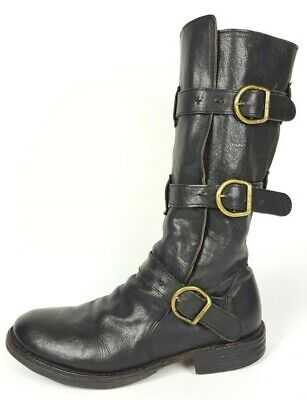 Fiorentini + Baker Eternity Black Leather Triple Buckle Biker Moto Boots 37 US 7
