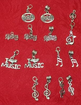 ANTIQUE SILVER MUSIC NOTES CHARMS - I LOVE MUSIC - EUROPEAN - LOBSTER CLASP - BA