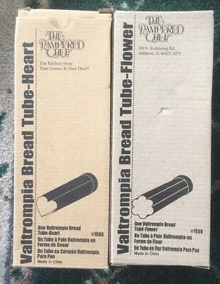 lot of 2 Pampered Chef Valtrompia Flower #1550 and Heart #1560 Bread Cake Tubes