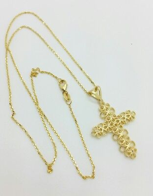 14k Solid Yellow Gold Italian Cross Religious Pendant Cable Chain Necklace