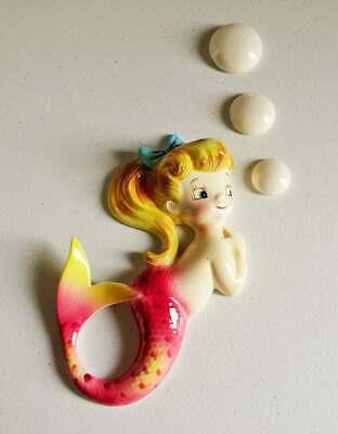 Vintage 1950's PY Lefton Pink Mermaid & Bubbles Wall Plaque Bathroom Decor