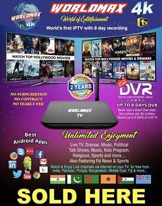 WORLDMAX 4K INDIAN IPTV BOX HINDI BENGLA PUNJABI FIJI LIFETIME SUB Hallam Casey Area Preview