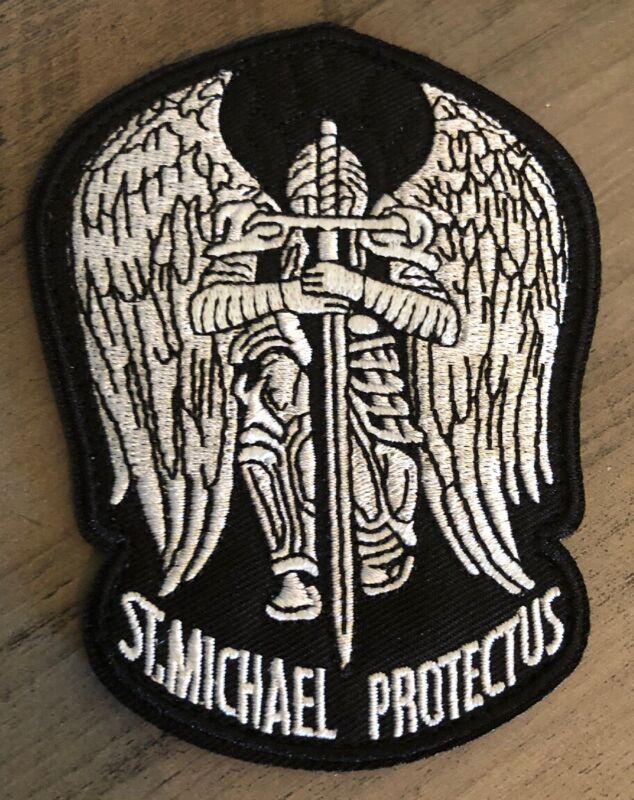 "VELCRO® BRAND Hook Fastener Compatible 3"" Saint Michael Protect Us Black"