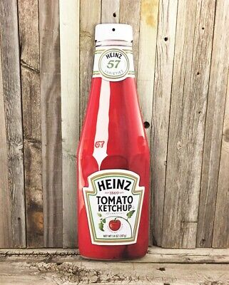 """Heinz Ketchup Bottle 21"""" Tall Embossed Metal Tin Sign Vintage Kitchen Decor New"""