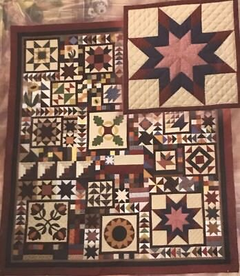 """COUNTRY PIECES 10 Block Quilt Pattern 94""""x108"""" Christmas Star Sunflower Flag ()"""