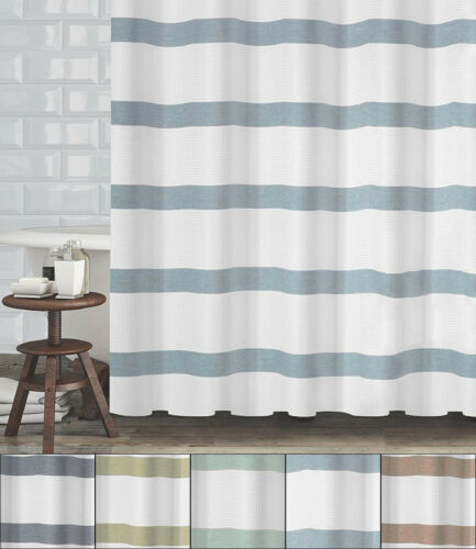 Mulberry Striped Fabric Shower Curtain Waffle Weave 70″x72″ Hotel Quality Bath