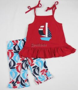 Kellys Kids 2pc Outfit Set Nautical Sail Boats Red White Blue Ruffles 2T EEUC+