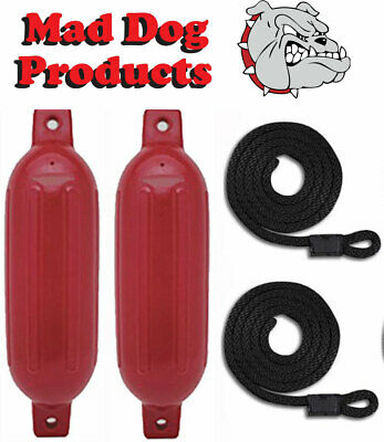2 Pack RED 6.5 x 23 Ribbed Inflatable Boat Fender Buoys & 2 Lines - Made in USA