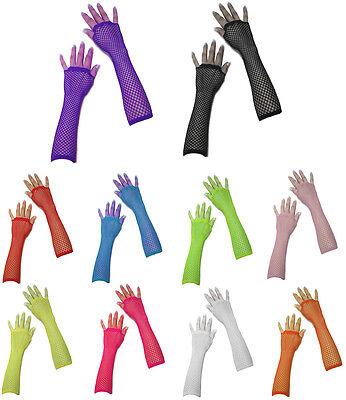 80's Neon UV Long Fishnet Gloves Fancy Dress Hen Night Party Costumes For - Uniform Fancy Dress For Womens