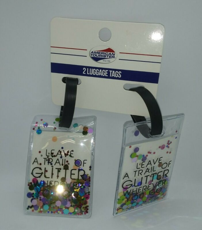 "American Tourister 2 pack Glitter Luggage Tag ""Leave a Trail of Glitter"""