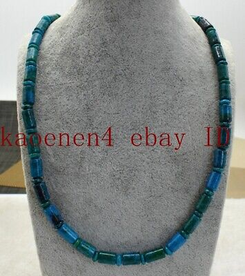 Long 18 Inch Pretty 6x9mm Green Azurite Chrysocolla Gems Column Beads Necklace  Chrysocolla Long Necklace