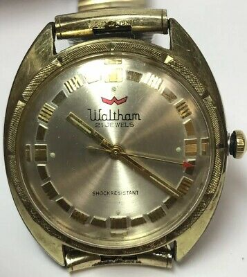 MENS WALTHAM GOLD PLATED STAINLESS STEEL 21 JEWELS WRIST WATCH SHOCK RESISTANT