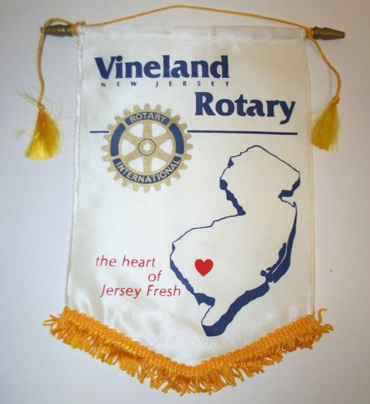 Vintage Vineland New Jersey International Rotary Club Wall Hanging Banner Flag