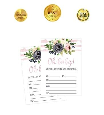 50 Fill in Blank Baby Shower Cute Invitations Floral Girl Pink Flowers Invites](Cute Baby Shower Invitations)