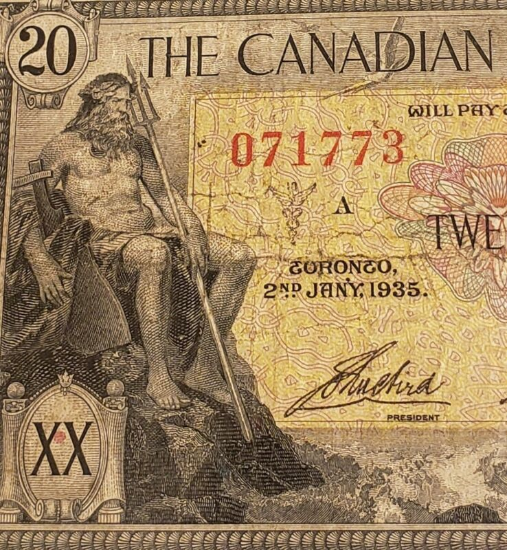 1935 Canadian Bank of Commerce $20. RARE Canadian Chartered Banknote.