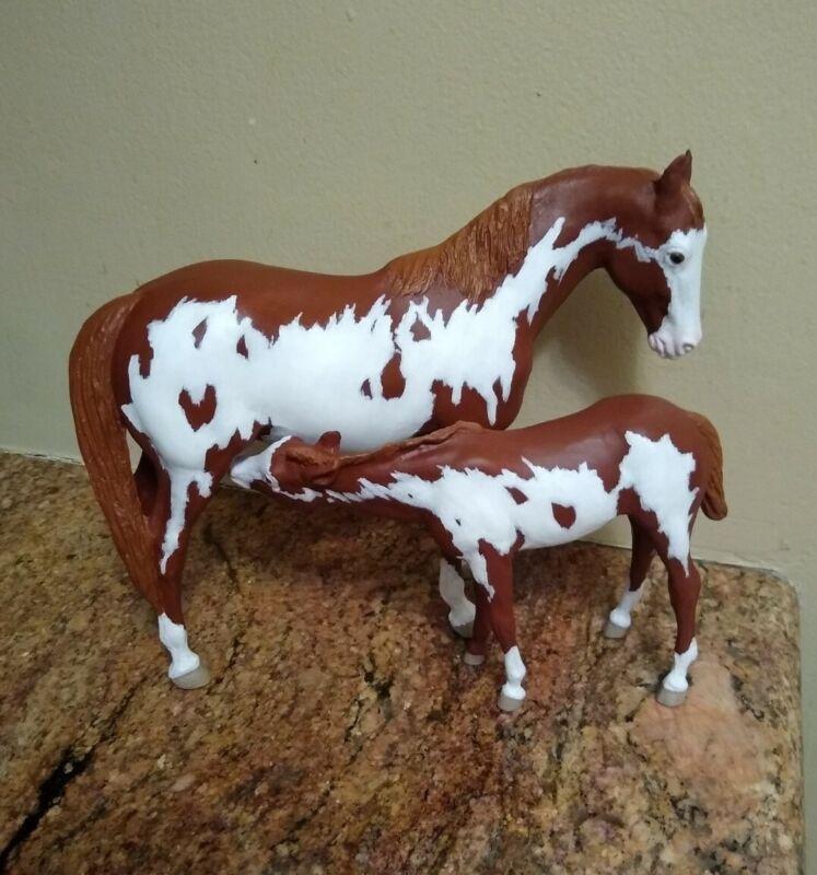 CM •Traditional •Breyer • Chestnut Paint Mare & Foal   • Custom