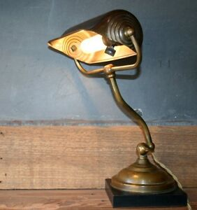 Vintage Antique Industrial Machine Age Lamp Adjustable Brass Desk Piano Light